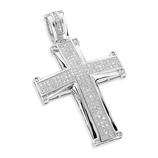 Luxurman 10k Gold 1ct TDW Diamond Cross Pendant (H-I, SI3)