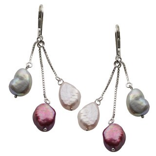 Sterling Silver Dyed Purple, Lavender and Grey Freshwater Pearl Lever-back Dangle Earrings (9-10 mm)