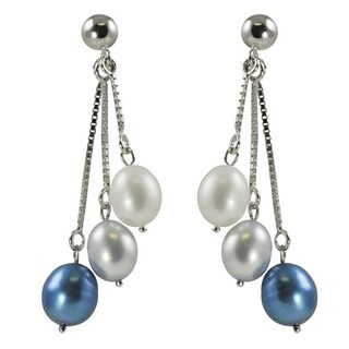 Sterling Silver White and Dyed Blue Freshwater Pearl Dangle Earrings (7-7.5 mm)