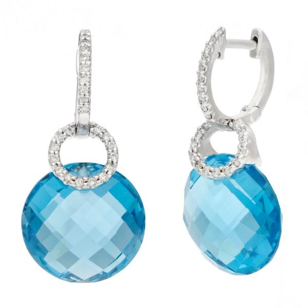 14k White Gold Briolette Blue Topaz and Diamond Accent Dangle Hoop Earrings