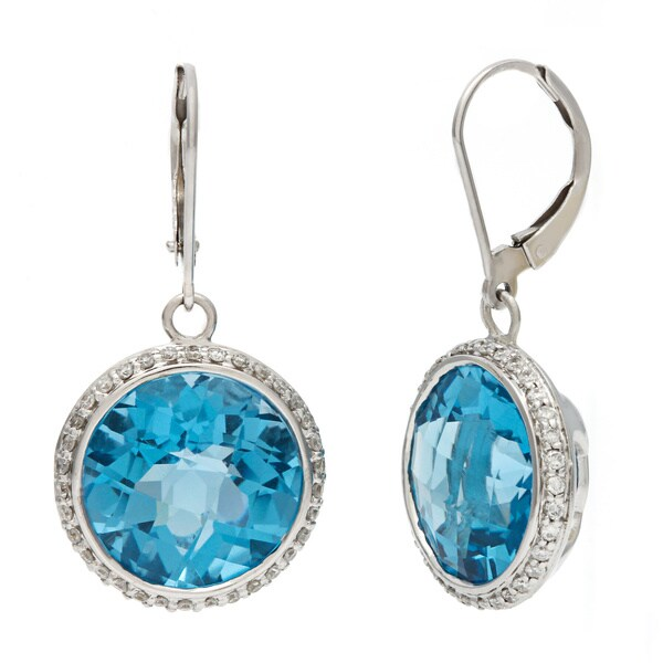 14k White Gold Round Blue Topaz and Diamond Accent Dangle Leverback Earrings