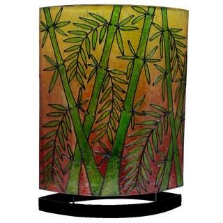 Handmade 20-inch High Oval Bamboo Table Lamp (Indonesia)