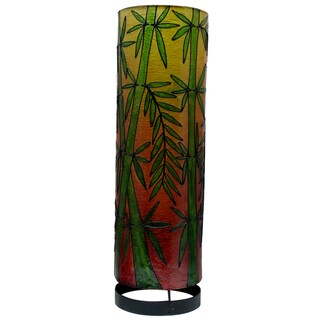 Handcrafted 20-inch Bamboo Print Cylinder Table Lamp, Handmade in Indonesia