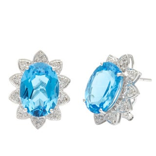 14k White Gold Blue Topaz 1/4ct TDW Diamond Floral Earrings (J-K, SI1-SI2)