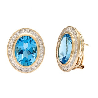 Kabella Jewelry 14k Yellow Gold Blue Topaz and 4/5ct TDW Diamond Earrings