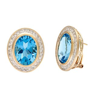 Kabella Jewelry 14k Yellow Gold Blue Topaz and 4/5ct TDW Diamond Earrings|https://ak1.ostkcdn.com/images/products/8534195/P15815262.jpg?impolicy=medium