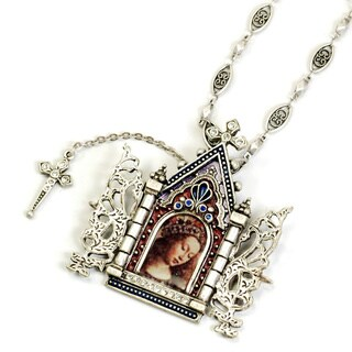 Sweet Romance Virgin Mary Gates of Heaven Cathedral Door Silver Alter Necklace