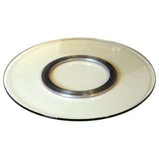 Somette Round 24-inch White Glass Rotating Tray