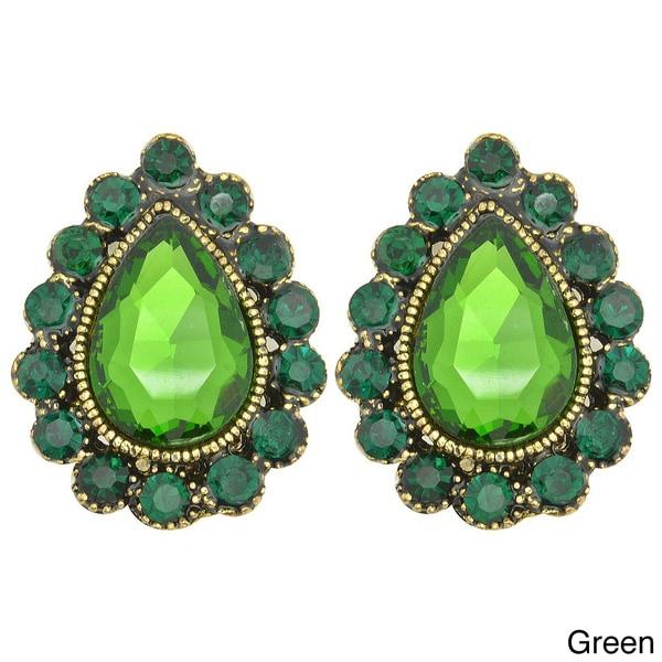 Kate Marie Goldtone Teardrop Rhinestone Earrings