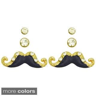 Kate Marie Goldtone Mustache Earrings (Set of 3)