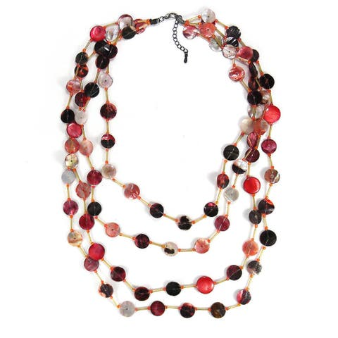 Handmade Red Tone Beauty Mother of Pearl Handmade Necklace (Thailand)
