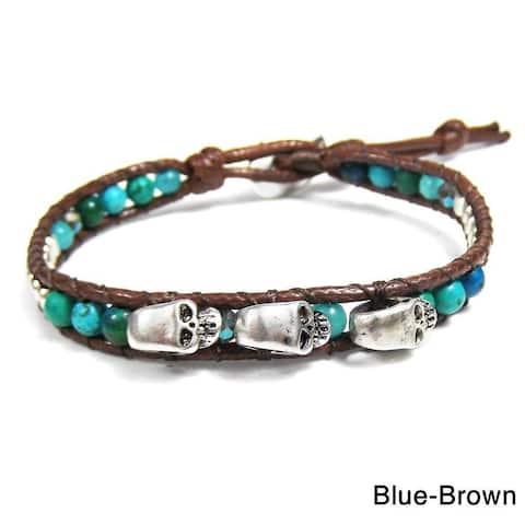 Handmade Three Menacing Skulls Strand Bracelet