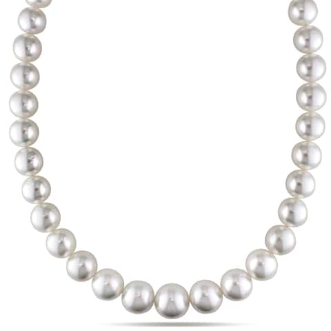 Miadora Signature Collection 14k Yellow Gold South Sea White Pearl and Diamond Necklace (13-16 mm) - Yellow Gold
