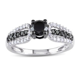 Miadora 10k White Gold 3/4ct TDW Black and White Diamond Engagement Ring