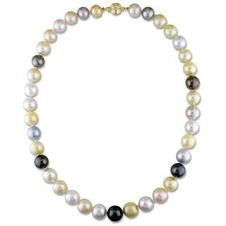 Miadora Signature Collection 14k Yellow Gold South Sea and Tahitian Pearl Necklace (9-12 mm)