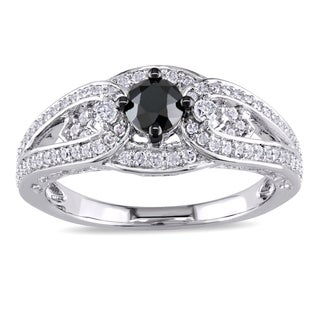 Miadora Sterling Silver 3/4ct TDW Black and White Diamond Engagement Ring