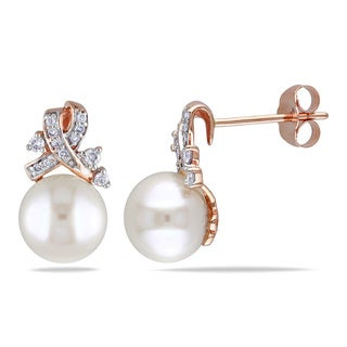 Miadora 10k Rose Gold Cultured Freshwater Pearl and 1/6ct TDW Diamond Stud Earrings (H-I, I2-I3) (8-8.5 mm)