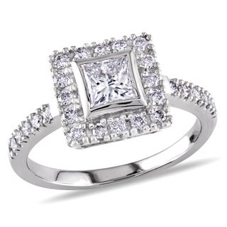 Miadora Signature Collection 14k White Gold 1ct TDW Princess Cut Diamond Ring