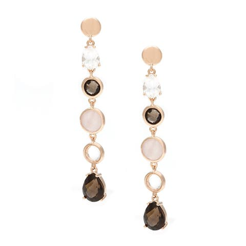 Forever Last 18 k Gold Overlay Quartz and Crystal Drop Earrings