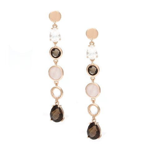18k Gold Overlay Quartz and Crystal Drop Earrings