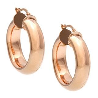18k Rose Gold Overlay Bronzallure Hoop Earrings