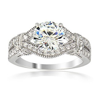 Icz Stonez Silver or Gold over Silver Cubic Zirconia Bridal-style Ring