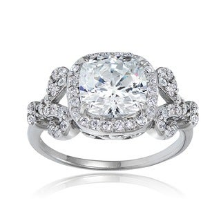 Icz Stonez Silver or Gold over Silver Cubic Zirconia Engagement-style Ring