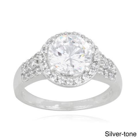 Icz Stonez Silver or Goldtone Cubic Zirconia Engagement-style Ring