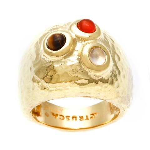 18k Gold Overlay Multi-stone Fashion Ring