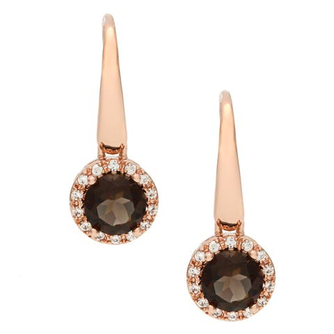 Forever last 18 KT Gold Overlay Smokey Quartz and CZ Dangle Earrings