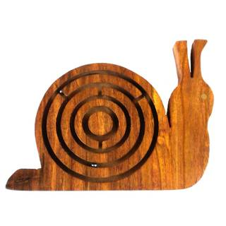 Handmade Wooden Labyrinth - Snail (India)