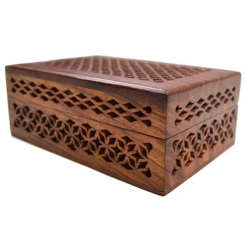 Handmade Lattice Cutwork Wood Box (India)