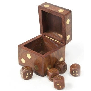 Hand Carved Wood Dice Box with Five Dice (India)