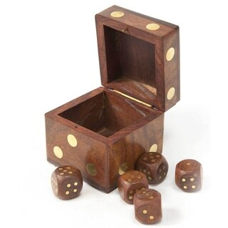 Handmade Wood Dice Box with Five Dice (India)