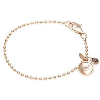 18k Gold Overlay Smokey Quarts Charm Bracelet
