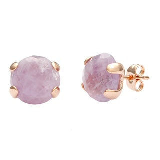 18k Gold Overlaid Amethyst Stud Earrings