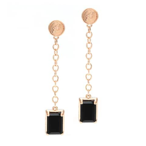 18k Gold Overlay Black Onyx Dangle Earrings
