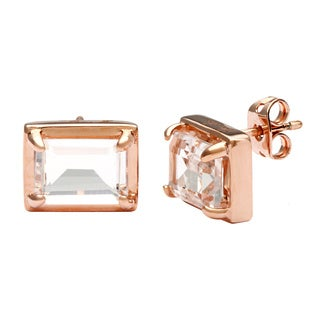 18k Gold Overlay White Crystal Stud Earrings