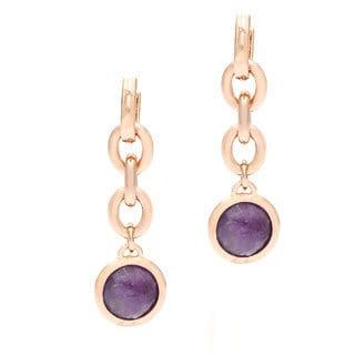 18k Gold Overlay Amethyst Dangle Earrings