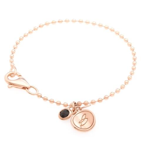 18k Gold Overlay Black Onyx Charm Bracelet