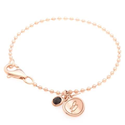 Forever Last 18 kt Gold Plated Black Onyx Charm Bracelet