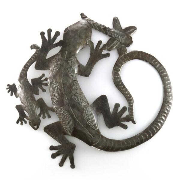 Handmade Steel Drum Geckos Art (Haiti)
