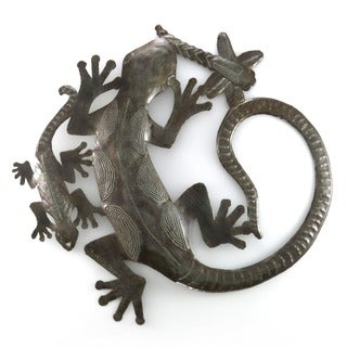 Handcrafted Recycled Steel Drum Geckos Art (Haiti)