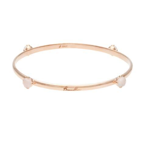 18k Gold Overlay Rose Quartz Bangle Bracelet