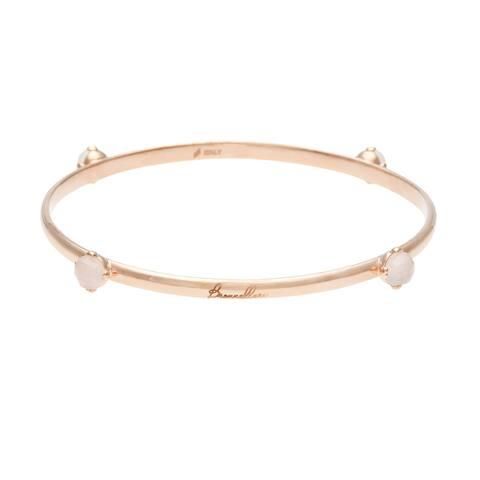 Forever Last 18 kt Gold Overlay Rose Quartz Bangle Bracelet