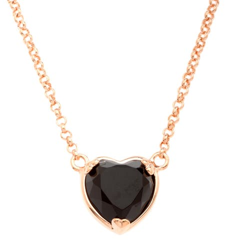 18k Gold Overlay Black Onyx Heart Necklace