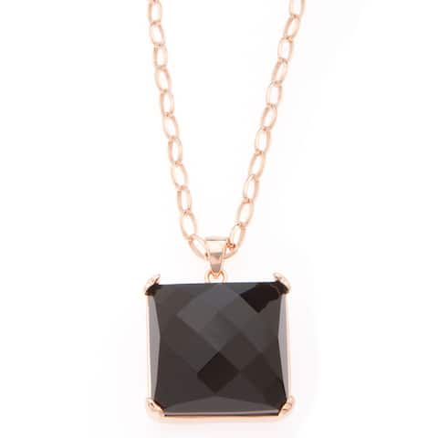18k Gold Overlay Black Onyx Square Necklace
