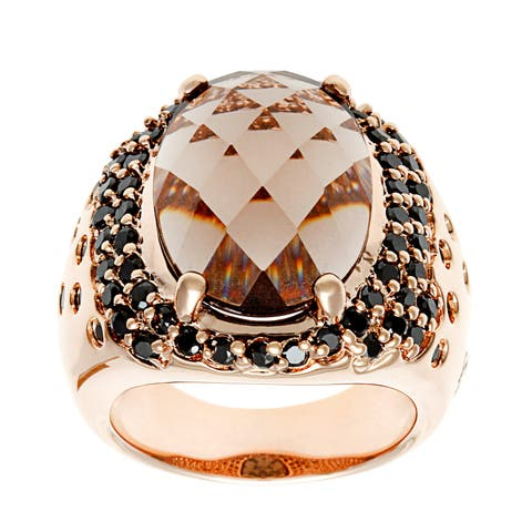 Forever last 18 KT Gold Overlay Black Cubic Zirconia Smokey Quartz Ring