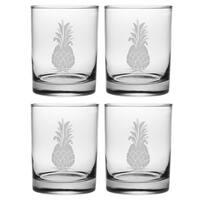 Pineapple Handcut Rocks Glasses (Set of 4)