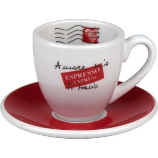 Konitz Coffee Bar Amore Mio Espresso Cups and Saucers (Set of 4)